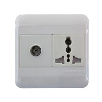 1G Multi-function socket with safety shutter+1G TV socket