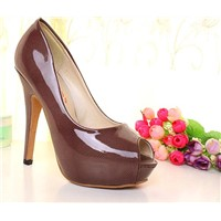 2012 spring style beautiful fashion high heel peep toes Z0225 brown