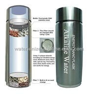 Alkaline Energy Flask Ionizer Water Bottle Ion pH Booster Cup W Case NEW