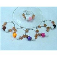 Colorful plastic beads wine ornament