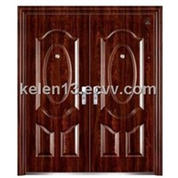 Exterior double leaf steel security door