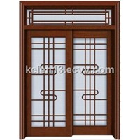 Exterior double leaf wooden door