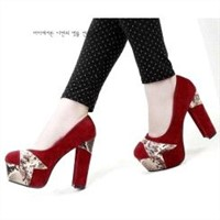 Fashion brief waterproof increased snake color split joint thick heel pumps Z0292 red