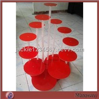 Flower shaped red acrylic/lucite cup cake display rack