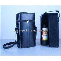 Leather wine bag two-tone