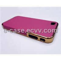 Pink Luxury Chrome Bumper Leather Skin Cover Hard Case For Iphone4G