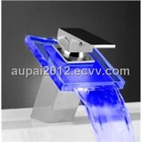 Single Handle Chrome Waterfall LED Glass Faucet (L-4003A)