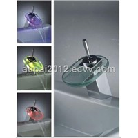 Single Handle Chrome Waterfall LED Sink Faucet With Glass Spout (L-4002)