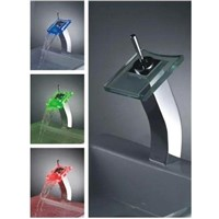 Single Handle Waterfall Glass LED Basin Faucet (L-4004)