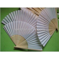 wedding fan, silk wedding fan, white silk wedding fan