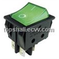 white actuator,black body rocker switch(ship-type switch) with black actuator,green actuator,lamps