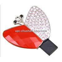 OEM Butterfly Cartoon Crystal USB Flash Disk