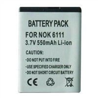 3.7V Li-ion Battery, Suitable for Nokia 6111 and Double IC, OEM, ODM Orders Welcomed
