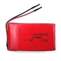7.4V Lithium Polymer Battery Pack with 0.5C Charge Current and 2,100mAh Nominal Capacity