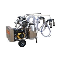 9J-II-type oil and electricity rotary vane vacuum pump milking trolley