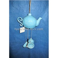 Blue Glazed Tea Set Shape Ceramic Wind Chime