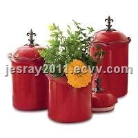 Ceramic Canisters Kitchenware Kitchen Storage Organizers, with Zinc Alloy Finial