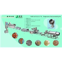 Frying single-screw food processing line