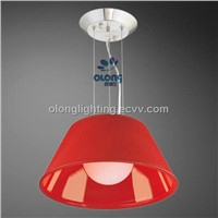 Home Lighting,Pendant Light with Red Lamp Shade, 60W Power and Metal Body