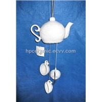 Translucent Glazed Tea Set Ceramic Wind Chime