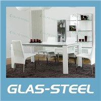 White Rectangle Dining Table  Tempered Glass Top