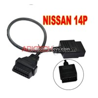 nissan 14 pin male to 16 pin female obd2 cable