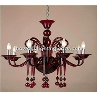 GC0073 Red Glass Chandelier with 8 Lights