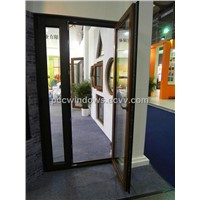 Aluminum wooden finish casement door, hinged door