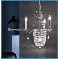 CHG0002 Glass and Yellow Crystal Chandelier