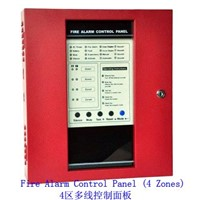 Red Metal Conventional Fire Alarm Control Panel Master Panel Alarm Host with 4 Zones