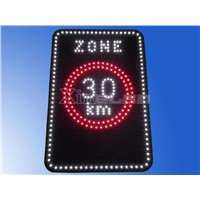 "Front lit LED sign letter panel ""ZONE 30km"" cover with black epoxy"