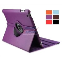 High quality 360 Rotating Leather Case Cover Stand Darkorchid for iPad 2