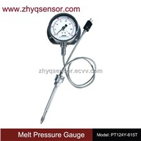 Mechanical flexible stem melt pressure gauge with output