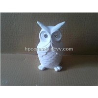 Praying Porcelain Owl Figurine with Diamond, Animal Figurines