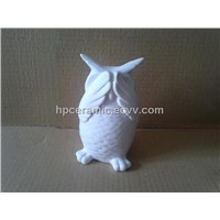 Porcelain Owl Figurines with Scared Gesture