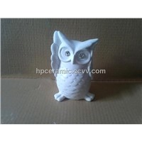 Porcelain Owl Figurine with Diamond-Animal Figurine / Interior Decoration