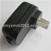 USB Power Adapter with 5W Output Power/US Plug/High Efficiency/Over-voltage/-current Protection