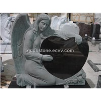 angel carving black granite monument