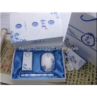 business gift set, blue and white porcelain business product 3 in 1 (NCP-03)