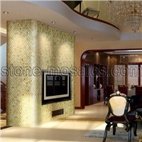 green onyx arc stone mosaic tv wall project 02