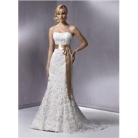 Slim A-line Lace Gown with a satin ribbon and glistening brooch