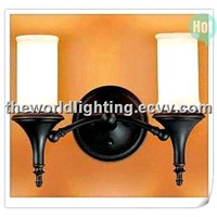 BL50822-Black Cylindrical Glass Bathroom Light with 2 Lamps