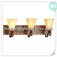 BL57152MBZ Antique Bronze Branch Golden Glass Cup shape Brathroom Wall Light with 3 Lamps