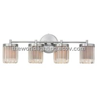 BL6004 Chrome Metal Stand Glass Cover Modern Bathroom Vanity Light with 4 Bulbs