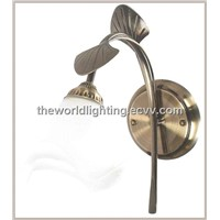 SWL-1040-SN  Leaf-Shaped Metal Branch Flower-Shaped Glass Bathroom Vanity Light