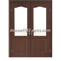 Two Panel UPVC entry door with glass (YS-D645)