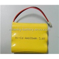 3.6V AA600mAh rechargeable Ni-Cd battery pack