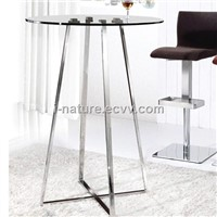 Bar table IA02198  polished stainless steel frame & tempered glass top