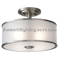 CL006-2012 Hot Selling Chrome Metal Stand Fabric Cover Modern Simple Ceiling Light