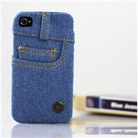 Fashion Jeans Cloth Cover Case for iphone 4